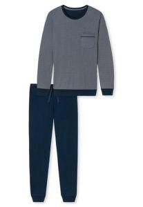 Langer Herrenschlafanzug in Grau/Blau